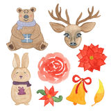 Hand drawn watercolor christmas bear, rabbit, deer, bell, flowers and leaves isolated Stock Photos