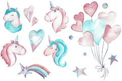 Hand-drawn watercolor clipart of pink and blue unicorns in love, stars, ballons and heart. stock illustration