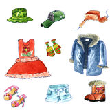 Hand drawn watercolor clothes cartoon style  on white background. winter and summer cloth: fur cap with ear flaps,fur coat Stock Photos