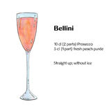 Hand drawn watercolor cocktail Bellini Royalty Free Stock Photo