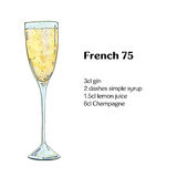 Hand drawn watercolor cocktail French 75. On white background Royalty Free Stock Photos