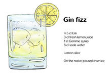 Hand drawn watercolor cocktail Gin fizz. On white background Royalty Free Stock Photos