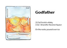 Hand drawn watercolor cocktail Godfather Stock Photography