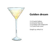 Hand drawn watercolor cocktail Golden dream Stock Photography
