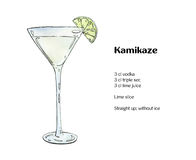 Hand drawn watercolor cocktail Kamikaze Stock Image