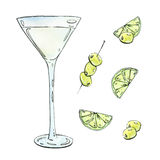 Hand drawn watercolor cocktail with lime and olives on white bac Stock Image