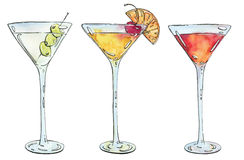 Hand drawn watercolor cocktail Martini Whiskey sour Sidecar Corp. Se Reviver on white background Stock Photos
