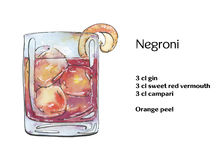 hand drawn watercolor cocktail negroni Stock Images
