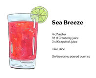 Hand drawn watercolor cocktail Sea Breeze. On white background Royalty Free Stock Images