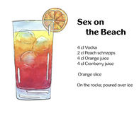 Hand drawn watercolor cocktail Sex on the Beach on white backgro Royalty Free Stock Photos