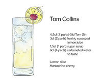 Hand drawn watercolor cocktail Tom Collins. On white background Royalty Free Stock Photos