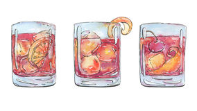 Hand drawn watercolor cocktails americano negroni old fashioned Stock Images