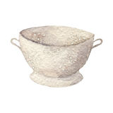 Hand drawn watercolor colander on white backgroiund. Kitchen tools series Stock Photography