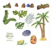 Hand drawn watercolor collection of dino world elements: Grass, leaf, stone, wood, plant, tree, eggs. Illustration isolated on the white background royalty free illustration