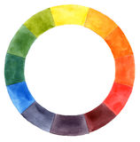 Hand drawn watercolor color wheel Stock Image