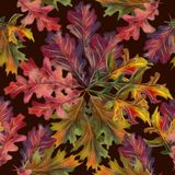 Hand drawn watercolor colorful autumn seamless pattern royalty free stock photography