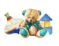 Hand drawn watercolor composition of children`s toys stock illustration