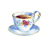 Hand drawn watercolor cup of tea Stock Images