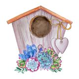Hand drawn watercolor cute bird house with heart stock illustration