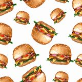 Hand drawn watercolor delicious burger illustration, fastfood isolated on white background. pattern of hamburger on white royalty free illustration