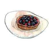 Hand drawn watercolor dessert tart with blackcurrant Royalty Free Stock Photo