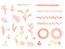 Hand drawn watercolor doodle design elements Royalty Free Stock Photo