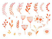 Hand drawn watercolor doodle design elements Royalty Free Stock Image