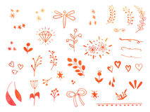 Hand drawn watercolor doodle design elements Stock Image