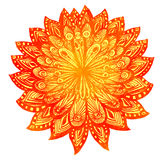 Hand drawn watercolor doodle orange flower. Indian. Mandala, symbol of luck and happiness. Vector design element Royalty Free Stock Photo