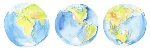 Hand drawn watercolor Earth. Stock Photos
