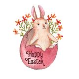 Happy Easter. Hand-drawn watercolor Easter bunny, colored egg and spring flowers isolated on the white background. Greeting card template, spring illustration Stock Illustration