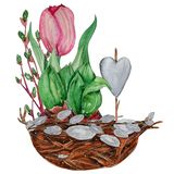 Hand drawn watercolor Easter card royalty free stock photos