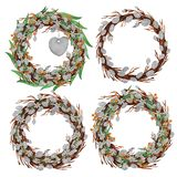 Hand drawn watercolor easter wreath royalty free illustration