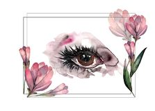 Hand-drawn watercolor eye for logo, banner vector illustration