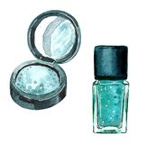 Watercolor fashion illustration of accessories Eye shadow with a mirror and nail polish. stock illustration