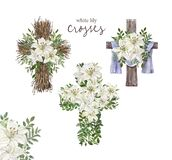 Hand drawn watercolor floral cross and white lily arrangement. Religious decorative wreath with spring flowers, green foliage