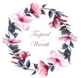 Hand-drawn watercolor floral illustration of the tender wreath with white and pink hibiscus flowers vector illustration
