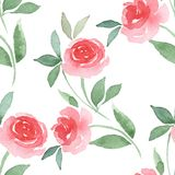 Hand drawn watercolor floral seamless pattern 2. Watercolor floral seamless pattern. Background with red flowers Stock Photos