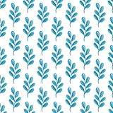 Watercolor floral seamless pattern with green branch. Hand drawn watercolor floral seamless pattern with blue branch on a white background Royalty Free Stock Photos