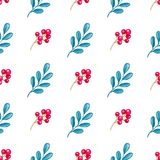 Pattern with branch and red berry. Hand drawn watercolor floral seamless pattern with branch and red berry on a white background Stock Photography