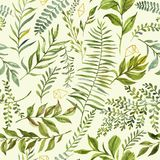 Hand-drawn watercolor floral seamless pattern with the green branches, leaves on the aquarelle background. Natural and vibrant repeated print for textile vector illustration