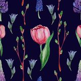 Hand drawn watercolor floral Seamless pattern royalty free illustration