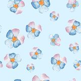 Hand drawn watercolor floral seamless pattern with pansies. Hand drawn watercolor floral seamless pattern Royalty Free Stock Photo