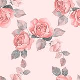 Hand drawn watercolor floral seamless pattern with roses. Watercolor floral seamless pattern. Vintage roses Royalty Free Stock Image