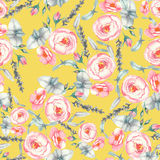 Hand drawn watercolor floral seamless pattern with tender pink roses in  on the yellow background Royalty Free Stock Images