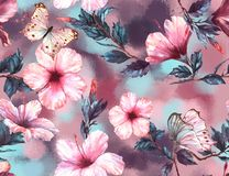 Hand-drawn watercolor floral seamless pattern with the tender white and pink hibiscus flowers and butterflies stock illustration