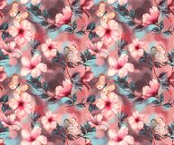 Hand-drawn  watercolor floral seamless pattern with the tender white and pink hibiscus flowers. Natural tropical and vibrant repeated print for textile Stock Photo