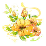 Hand Drawn Watercolor Flower Royalty Free Stock Image