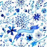 Hand drawn watercolor flower pattern Stock Photos