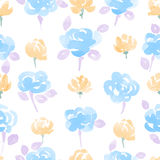 Hand Drawn Watercolor Flowers seamless Pattern. Stock Photos